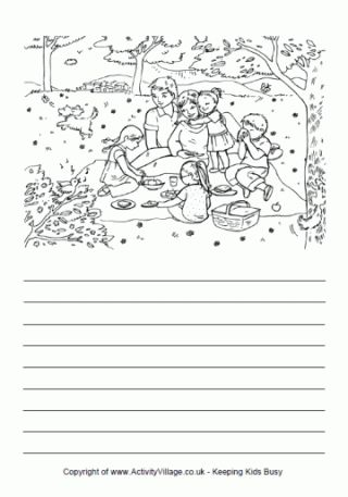 Summer story paper with colouring pictures.