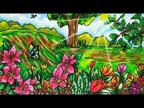 Cara Menggambar Dan Mewarnai Kebun Bunga Gradasi Warna Oil Pastel Youtube Kebun Bunga Taman Bunga Menggambar Bunga