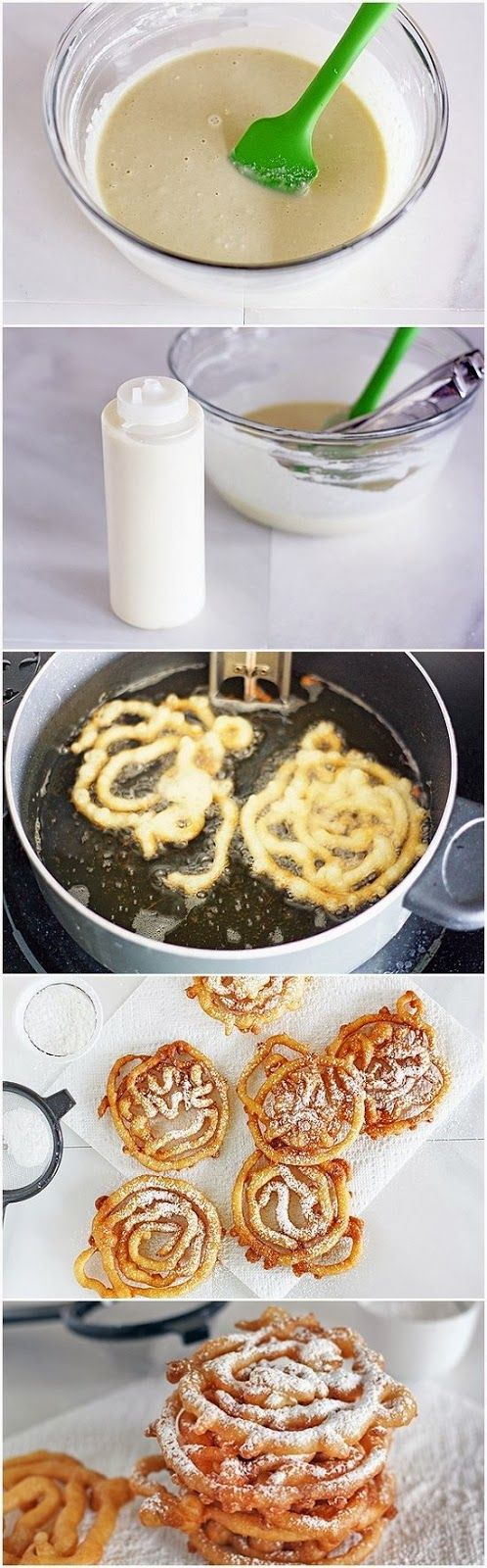 DIY Mini Funnel Cakes ...pancake mix, squirt bottle & oil deep enough for the mix to float in while frying.