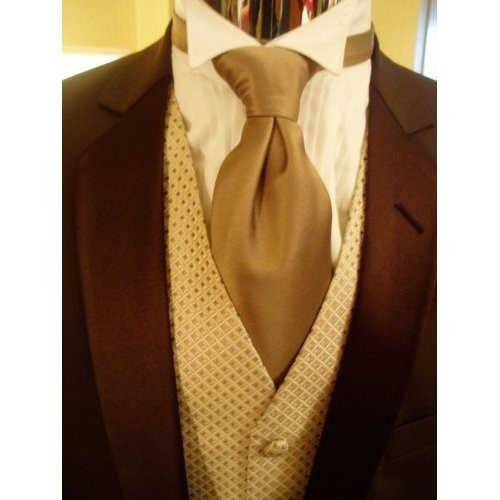 I like the vest, too. Maybe a lighter brown or bronze with a red tie.