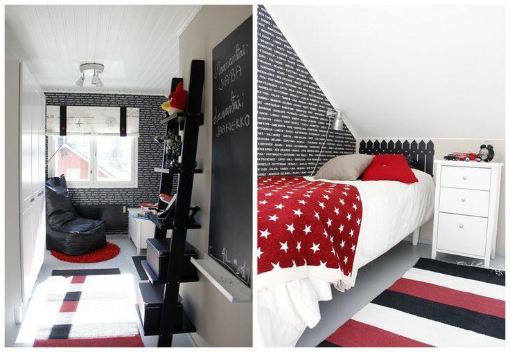Musta-valko-punainen pojan huone, play room
