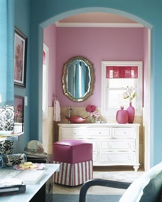 Bathroom - pink and blue