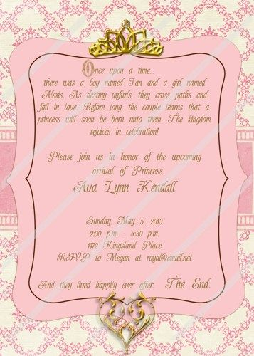 Once Upon A Time Princess Baby Shower Custom Personalized Invitation |  Cherrybonbons   Digital Art On