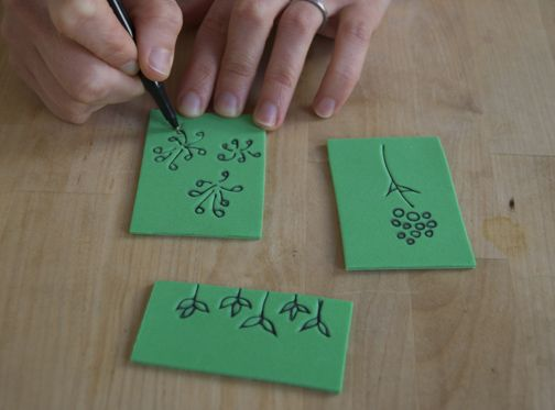 dead-easy stamps. You know those adhesive ubiquitous foam sheets sold in every craft store? Well, it turns out that you can just draw right on them with a ballpoint pen