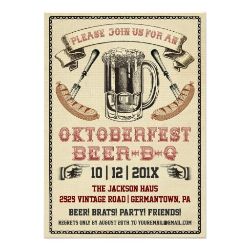 octoberfest invite | Vintage Oktoberfest Beer-B-Q Party Invitation from Zazzle.com