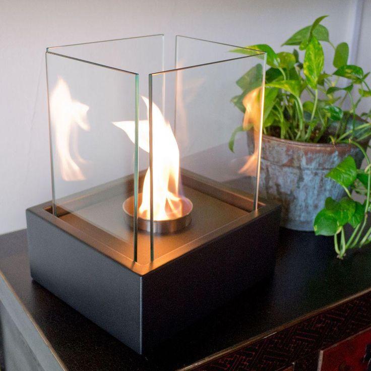 Lampada 7 in. Tabletop Decorative Bio-Ethanol Fireplace in Black