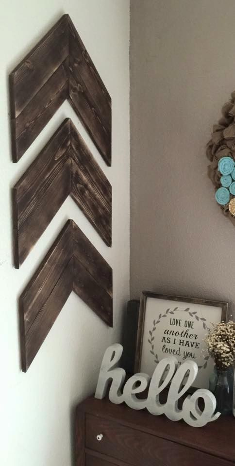 Chevron Wood Arrows Set of 3, Wood Arrows, Farmhouse Style, Rustic Arrows, Shabby Chic Arrows, Chevron Arrows