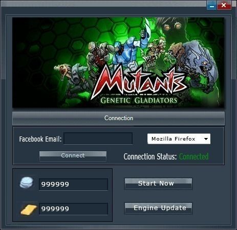 Mutants Genetic Gladiators Hack NO SURVEYMutants Genetic Gladiators Hack NO SURVEY is a free hack tool ! Anyone can use it for Free and for Unlimited times ! Mutants Genetic Gladiators Hack has an auto updater so all you have to do is to open it and enter amount of wanted credits, gold and activate other features.