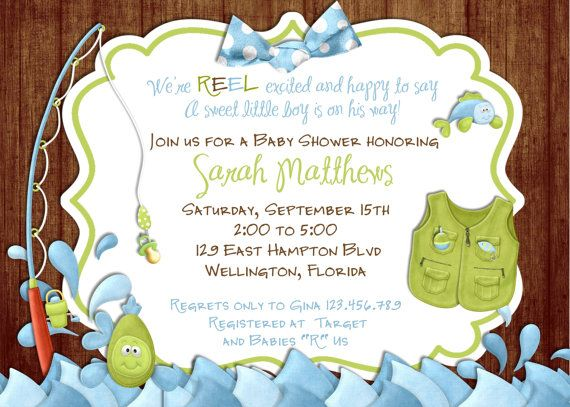 Rustic Fishing Baby Shower Invitation Fish and Rod  by 3PeasPrints, $18.00