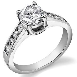 Round Moissanite Channel Trellis Engagement Ring - Classic. One of my favorite solitaires.