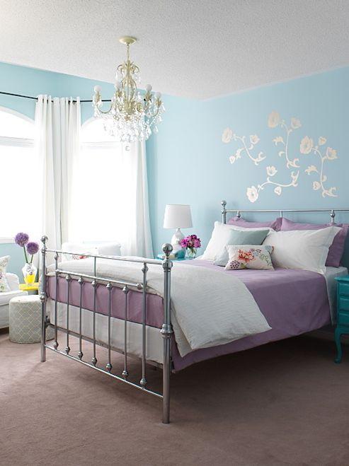 mulher, lilás, azul, carpete, lustre