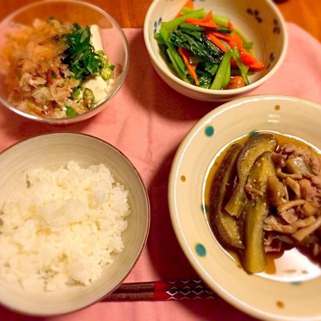 今週もお疲れさまー - 11件のもぐもぐ - 豚肉と茄子の煮物   小松菜炒め  薬味たっぷり冷奴 by anna214anna