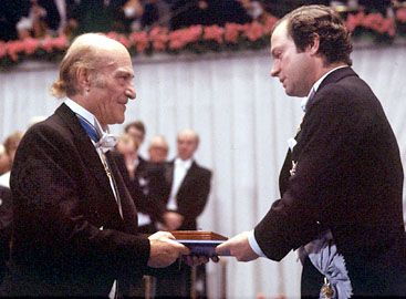 Stockholm, 1979. Poet Odysseus Elytis, left, receives the Nobel prize for Literature from the King of Sweden