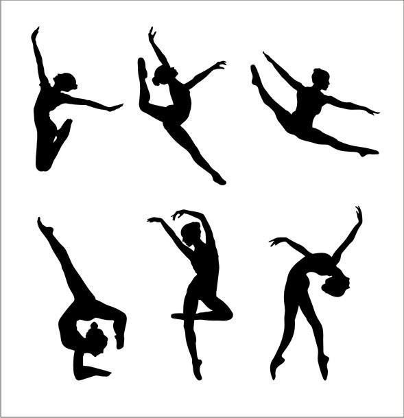 Hand Painted Wall Murals With Gymnastics Silhouettes