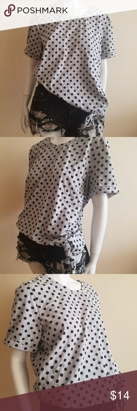 Oversized Polka Dot Tee Tagless! Found at a Vintage Shop. Grey and Black Polka Dot Print Tee With Cuffed Sleeves And Side Tie Detail   Tagless! Estimated Size Medium. Probably a Cotton Blend if not 100%  #polkadot #tshirt #oversized Tops Tees - Short Sleeve