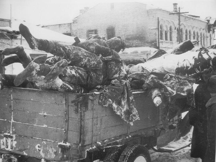Погрузка в машину тел немецких солдат на улице освобожденного Малоярославца