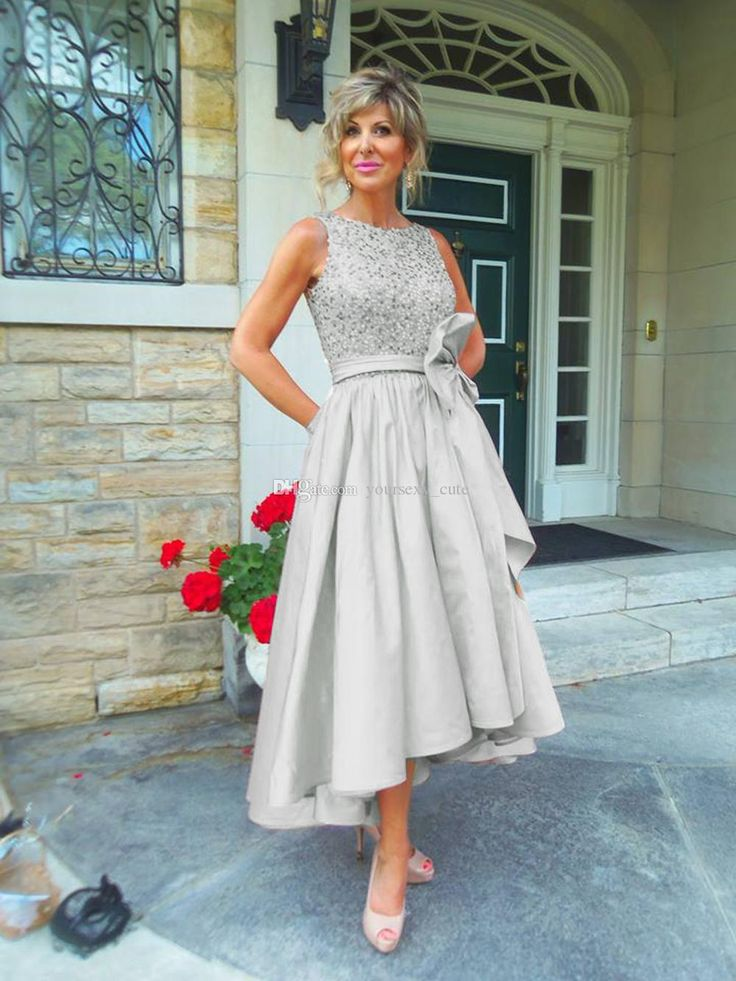 High Low Mother Of The Bride Dresses 2016 Jewel Draped Sequined Satin Tea Length Champagne Wedding Guest Dress Mother Dresses Prom Dresses