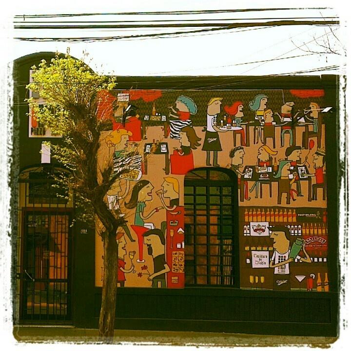Street Art, Graffiti, Painting, Mural, Wall, Santiago, Barrio Italia, Chile, Bar Único
