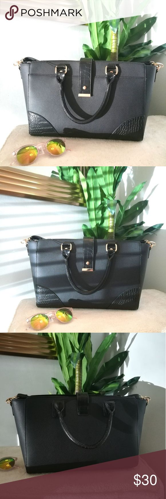 """PRIMARK FAUX LEATHER TOTE NEW WITH TAG! Pebbled faux leather with gold hardware. Crossbody strap included. 17""""wide x 3.5""""depth x 9.5""""high. One zippered pocket inside. Please feel free to ask questions! Make an offer! Atmosphere Bags"""
