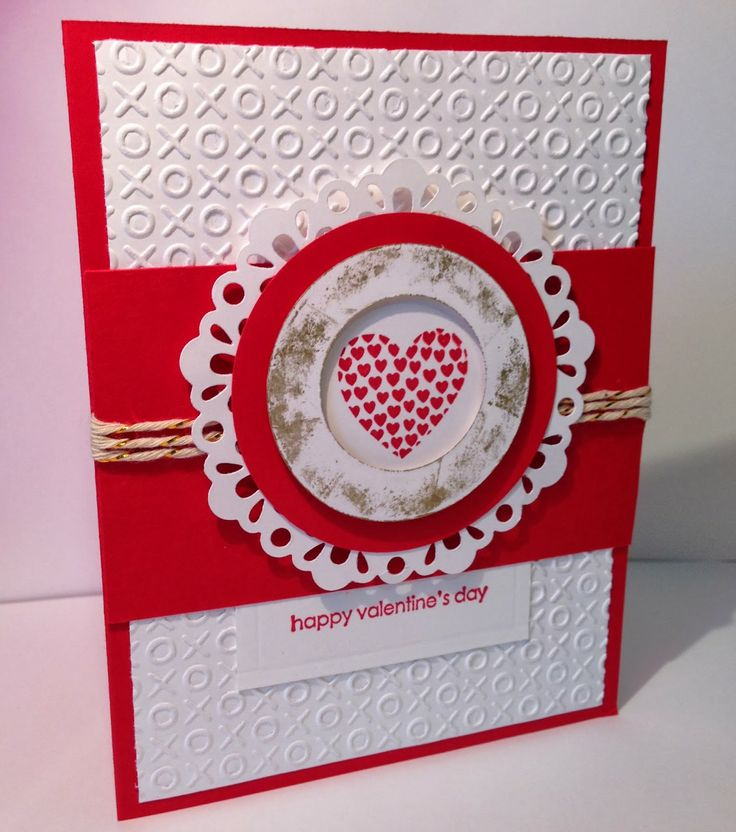 handmade Valentine card from Crazy About Scrapbooking ... red and white ... layered medallion frame for stamped heart ... luv the XOXO embossing folder texture for the background .. Stampin'Up!