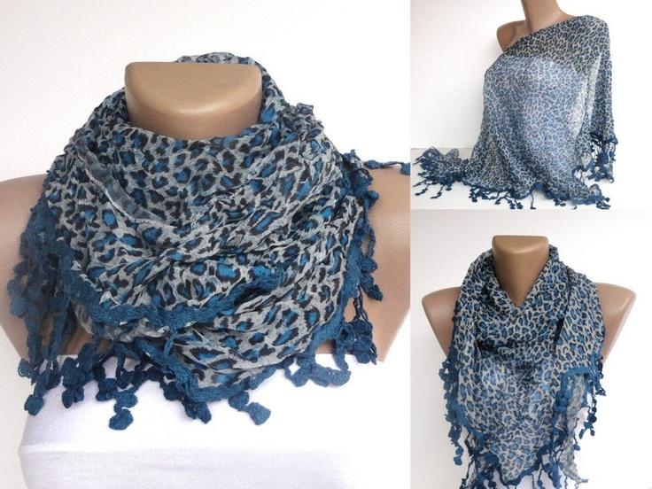 NEW blue leopard WOMEN SCARF , 2013 Scarf trend. $19.50, via Etsy.