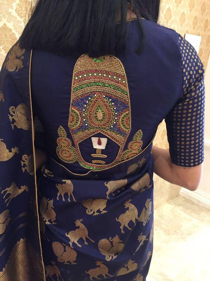 Client in a Naziasyed Blouse. Intricately Customized Lord Venteshwara! Zardozi Kundan Embellished BlouseCouture God Venkateshwara 14 December 2016