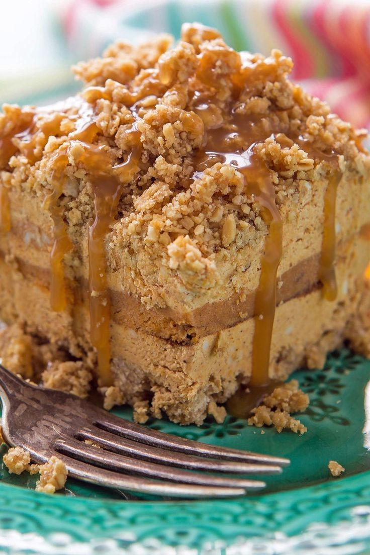 Creamy Pumpkin Spice No Bake Cake Recipe With Granola Brown Sugar Cream Cheese Pumpkin Puree Pum Cake Baking Recipes No Bake Cake Fall Dessert Recipes Easy