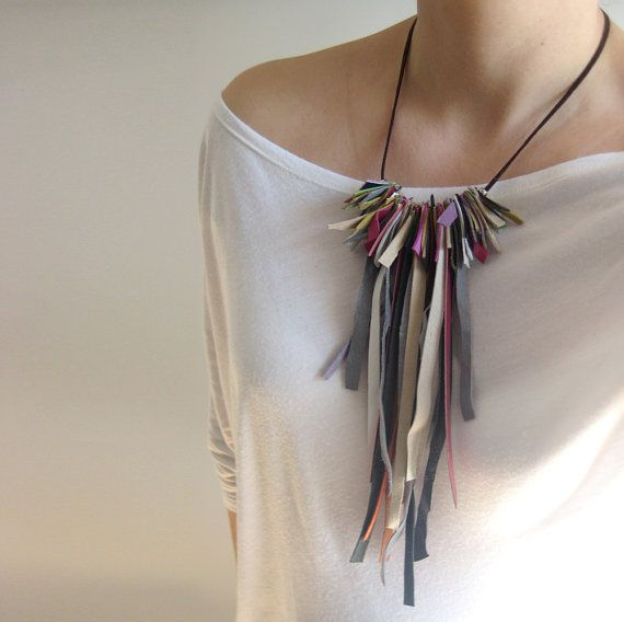 Long fringe necklace, leather necklace, hippie fashion, statement jewelry, earth colors chic fashion.
