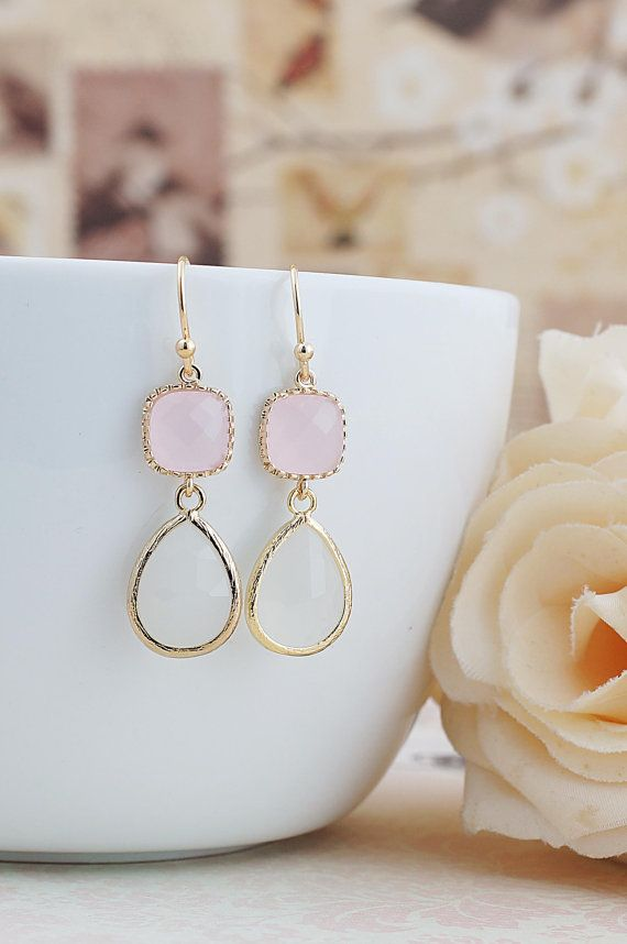Ice Pink and Smoky White Opal Glass dangle earrings drop earrings Wedding Jewelry Bridesmaid Earrings Bridesmaid gifts Bridesmaid jewelry