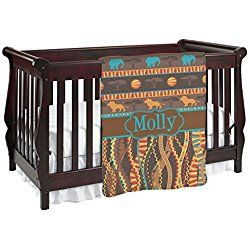 African Lions & Elephants Personalized Baby Blanket (Double Sided)