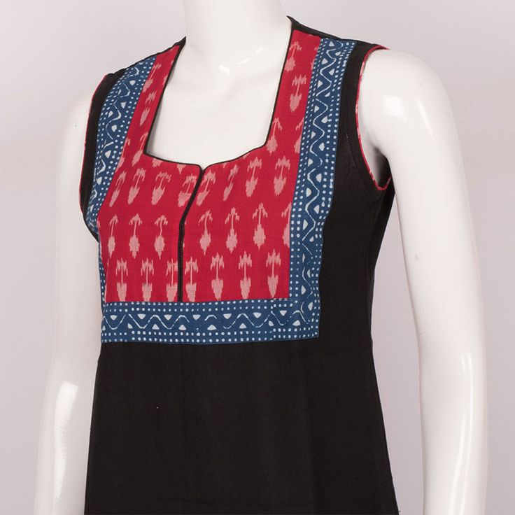 Handcrafted Cotton Kurtas with Ikat Block Prints & Floral Motifs