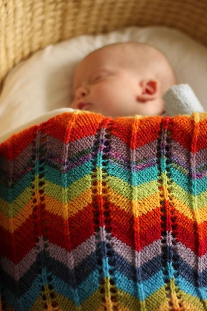 Sometimes you want something a little less subdued for the nursery, something to show that there is a great big world of color out there, and that life is exciting when it is lived out loud!Parents and babies alike will be thrilled with this rainbow ripple blanket, either cot sized or the useful bassinet/stroller/car seat size.Use your imagination and any combination of colors that takes your fancy, use 7 yarns or 37!