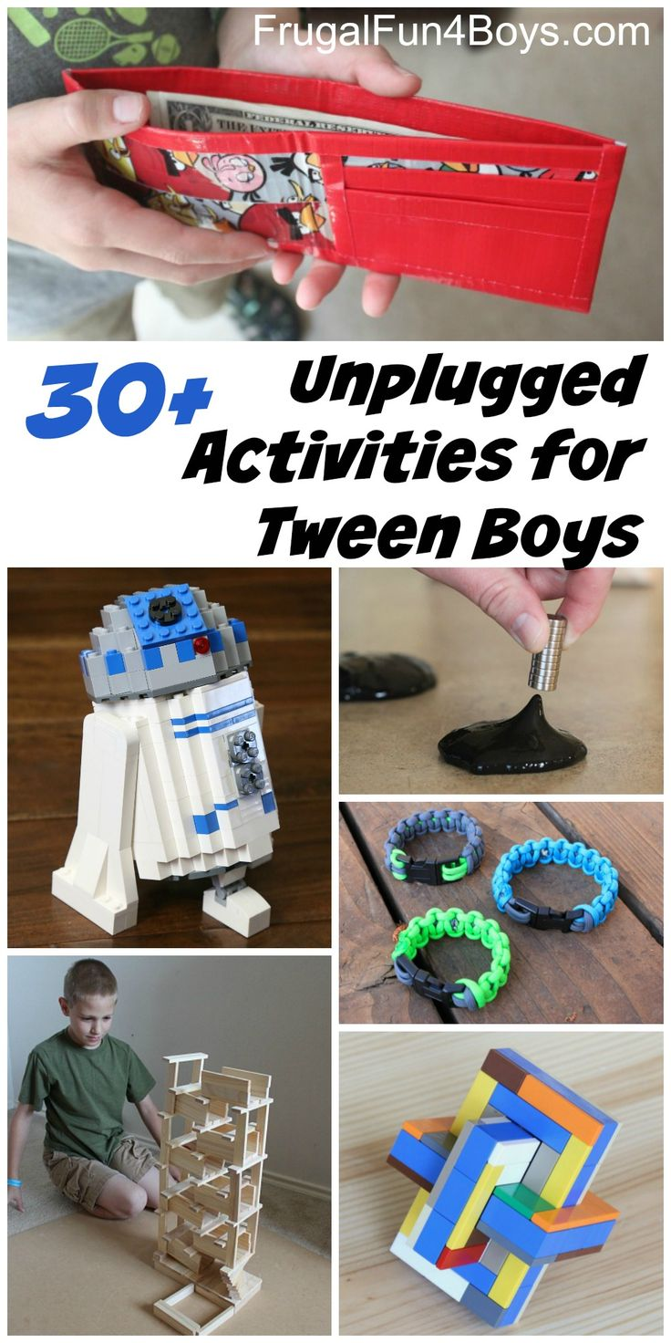 30+ Unplugged Activities for Tween Age Boys - Projects, crafts, hobbies, and things to do that older boys will go for.  Great for ages 10 and up.  There's something for everyone on this list!