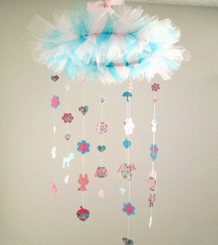 Sweet Creatures Forest Mobile - Nursery Mobile - Toddlers Room Decor - Baby Girl's Room - Pink - Turquoise - Floral
