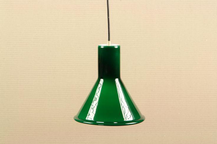 Holmegaard green glass pendant. Pendler. Deckenlampe grün Glas
