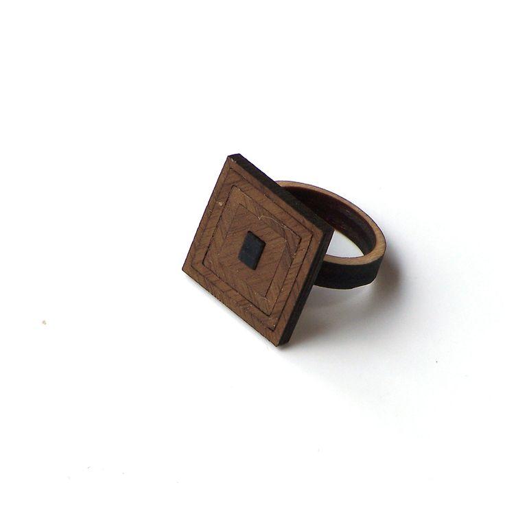 Walnut veneered laser cut wooden ring - model 1/5 - 20USD - www.ardeola.hu