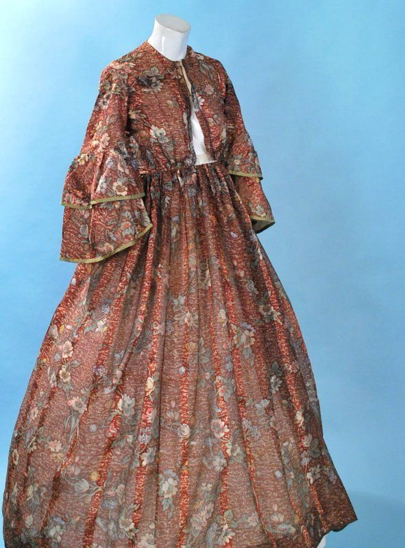 1860 Floral Wool Silk Challis Ladies Day Dress with double layered bell sleeves and piped details.  Via eBay.