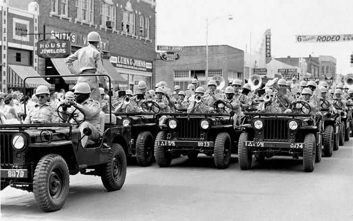 """1960willys6226: """"Fort Hood Army Band in jeeps for the Taylor Rodeo Parade, August 3, 1955. Photo credit: texashistory.unt.edu """""""