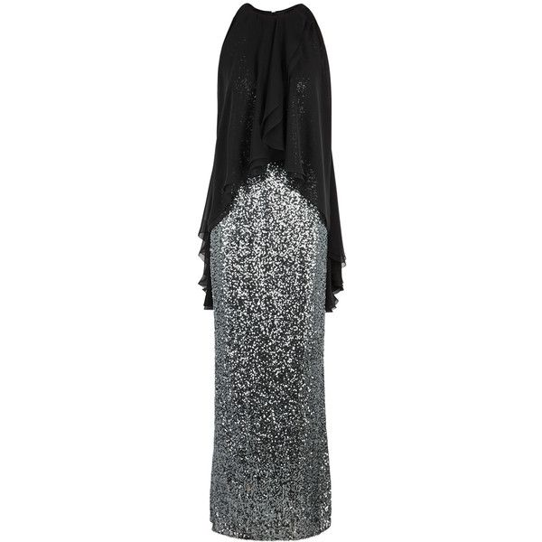 Talbot Runhof Morave Silver Sequinned Gown - Size 10 ($2,525) ❤ liked on Polyvore featuring dresses, gowns, talbot runhof evening gowns, silver sequin gown, sequin dress, silver evening dresses and silver evening gowns