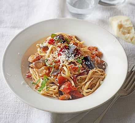 Taglioni is a thin, flat ribbon pasta, similar to tagliatelle. If you can't find it, use linguine for this vegetarian pasta dish instead