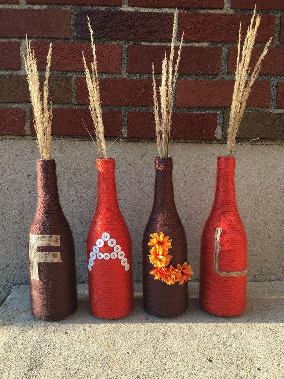 Fall wine bottle vasesset of 4autumn decorations-fall