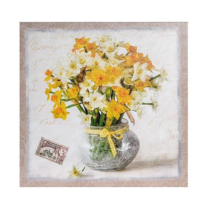 Obrazek Belldeco Prowansja, na którym znajdują się białe i żółte żonkile na tle imitującym kartkę pocztową.