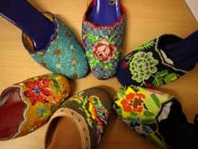 Perankan Beaded Slippers -- Shoes from Helen Chia's workshop -- hand stitched bead by bead!