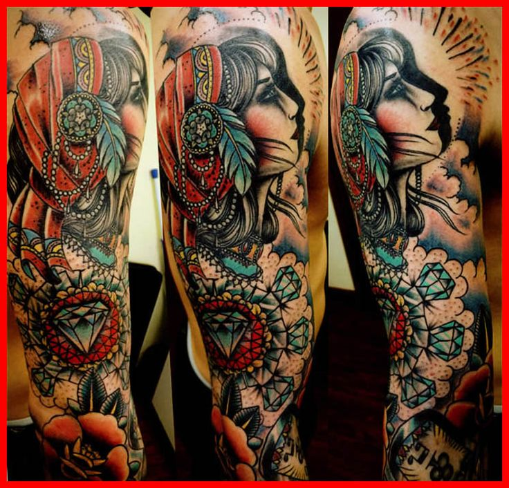 Traditional Style Tattoo Sleeve - Traditional Tattoo Sleeve Filler ...