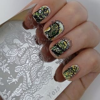 Leonie's Nailart: Stamped Dragon over a Gold and Green Foil base - P...