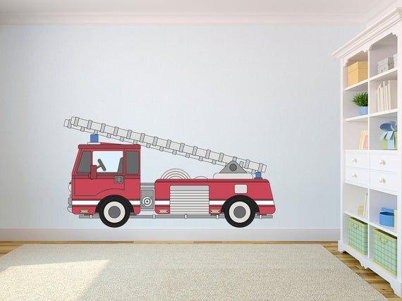 Firetruck Self Adhesive Vinyl Poster Kids Room Wall Decor Kids Etsy Kids Wall Prints Kids Room Wall Decor Kids Room Wall
