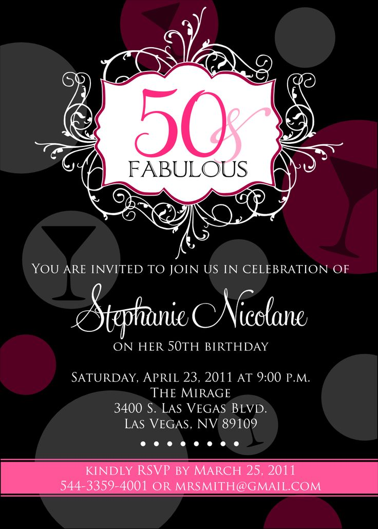 Invitations 50th Birthday Party (With images) 50th