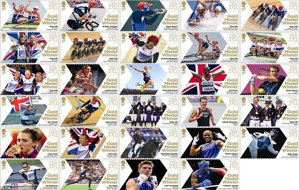 Team GB stamps featuring Gold Medal winners
