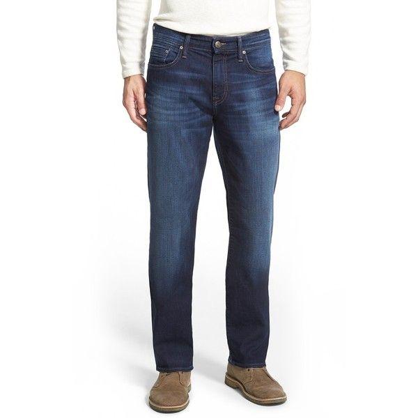 Men's Mavi Jeans 'Myles' Straight Leg Jeans ($98) ❤ liked on Polyvore featuring men's fashion, men's clothing, men's jeans, dark williamsburg, plus size, mens tall jeans, mavi mens jeans, mens relaxed boot cut jeans, mens dark jeans and mens relaxed jeans