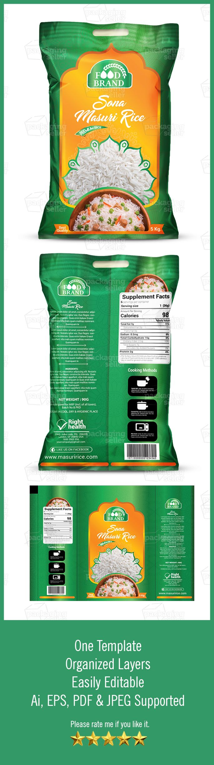 Download Rice Packaging Template Vol 107 Packaging Seller Rice Packaging Packaging Template Dog Food Supplement